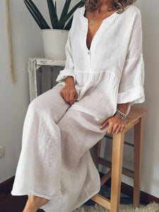 Solid Long Sleeve Linen Maxi Dresses