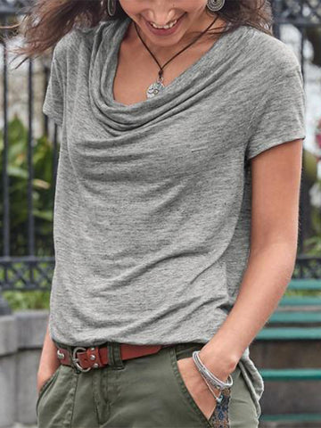 Casual Round Neck Solid Short Sleeve Shirts