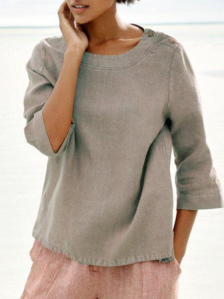Casual Buttoned Crew Neck Solid Shirts & Tops
