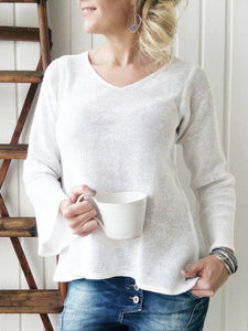 Solid Casual Cotton-Blend Shirts & Tops