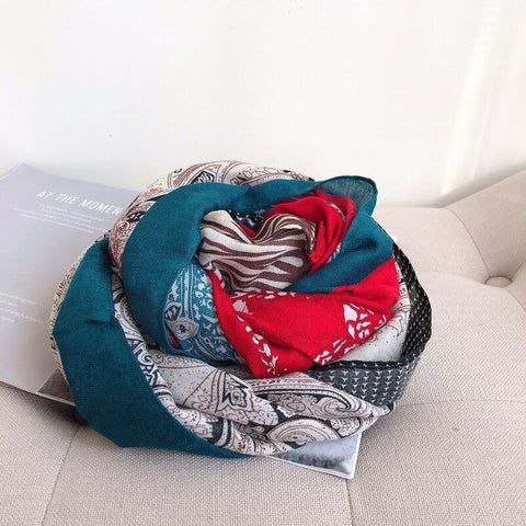 Autumn and winter women cotton new green floral little fresh silk scarf printed scarves sunscreen herringbone cotton shawl
