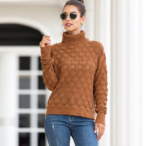 2020 New Style for Autumn and Winter Women's Knitwear Turtleneck Pullover Scales Sweater winter clothes women  sweater