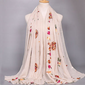 2020 Women Fashion Plain Beige Stitch Cashew Floral Viscose Shawl Long Soft Wrap