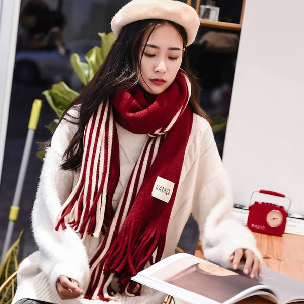 Solid Cashmere Scarves Lady Winter Thicken Warm Soft Pashmina Shawls