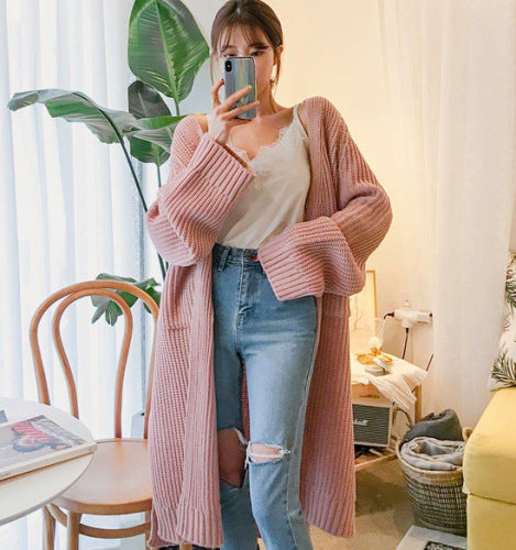 Autumn and winter new loose cardigan medium length thick wool knee thick knitted jacket