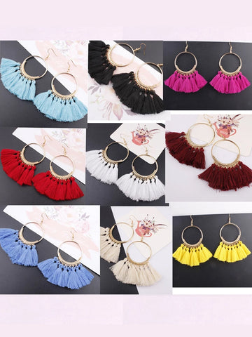 Ethnic Tassel Big Drop Bohemia Fashion Earrings
