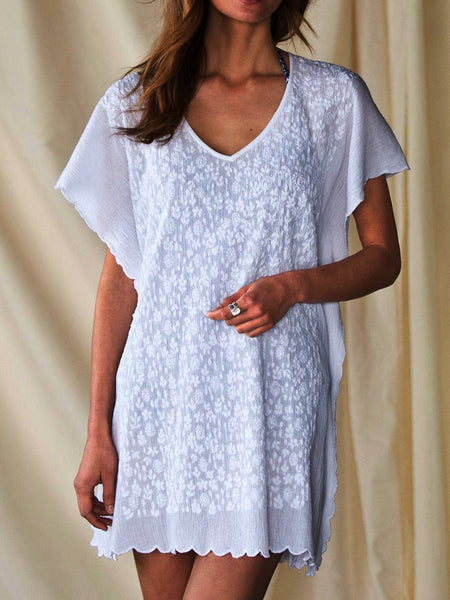 White Silk-Chiffon V Neck Casual Dresses