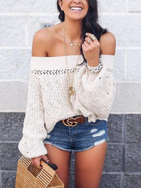 Sexy Shoulder Lantern Long Sleeve Loose Knitted Sweaters