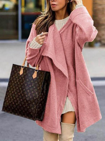 Solid Color Long Knit Cardigan Coat