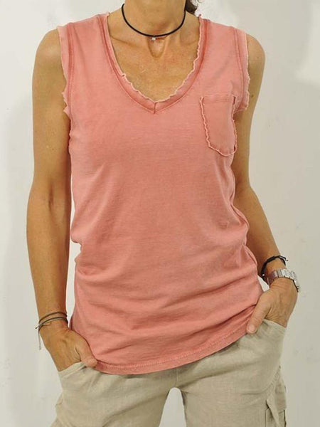 Casual V Neck Solid Sleeveless Pockets Tops
