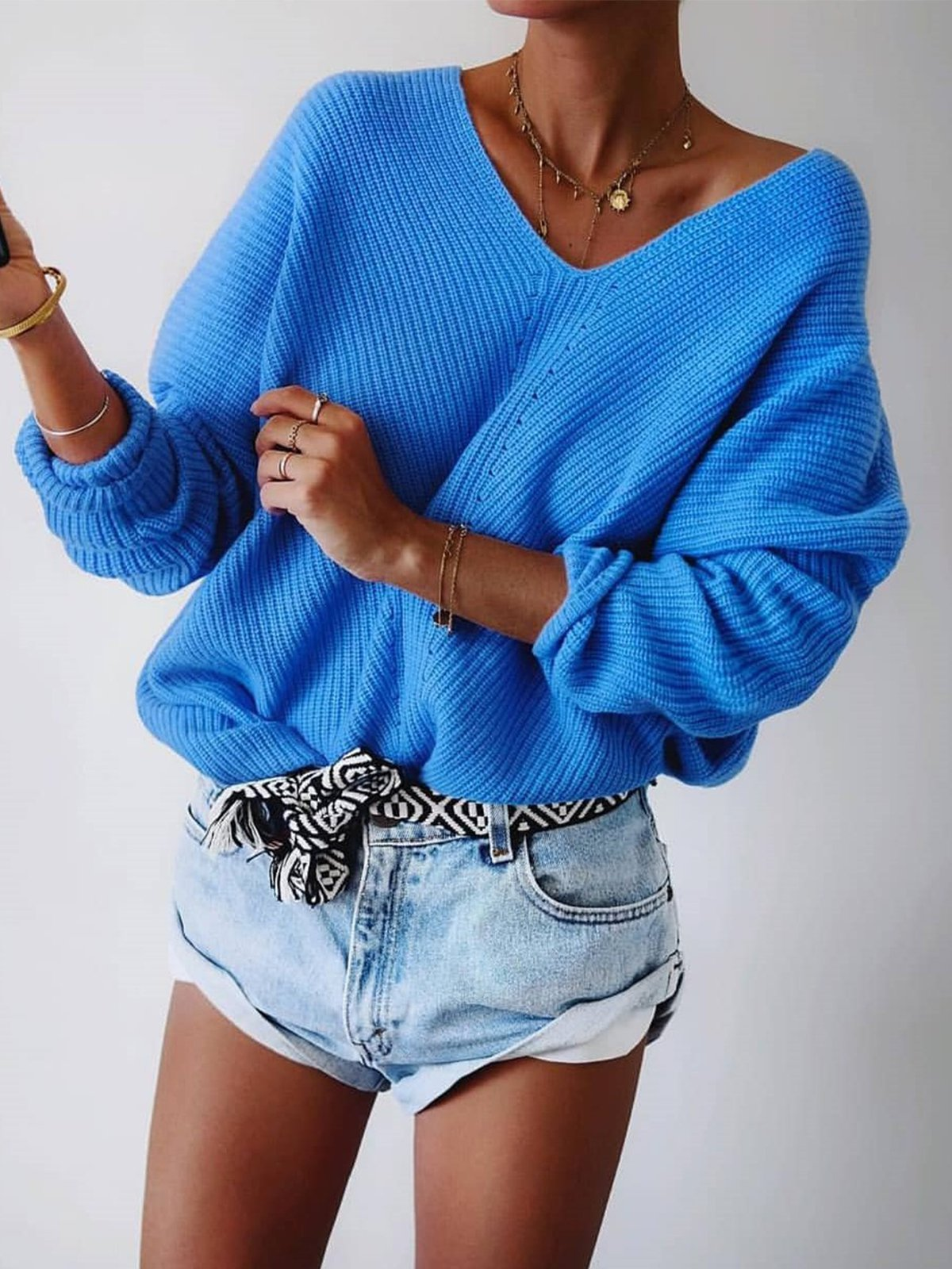 Autumn V-neck loose knit sweater