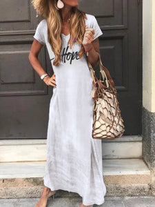 Letter-Printed Casual Holiday Maxi Dress