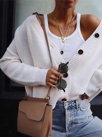 Casual Solid Color Button Knit Cardigan