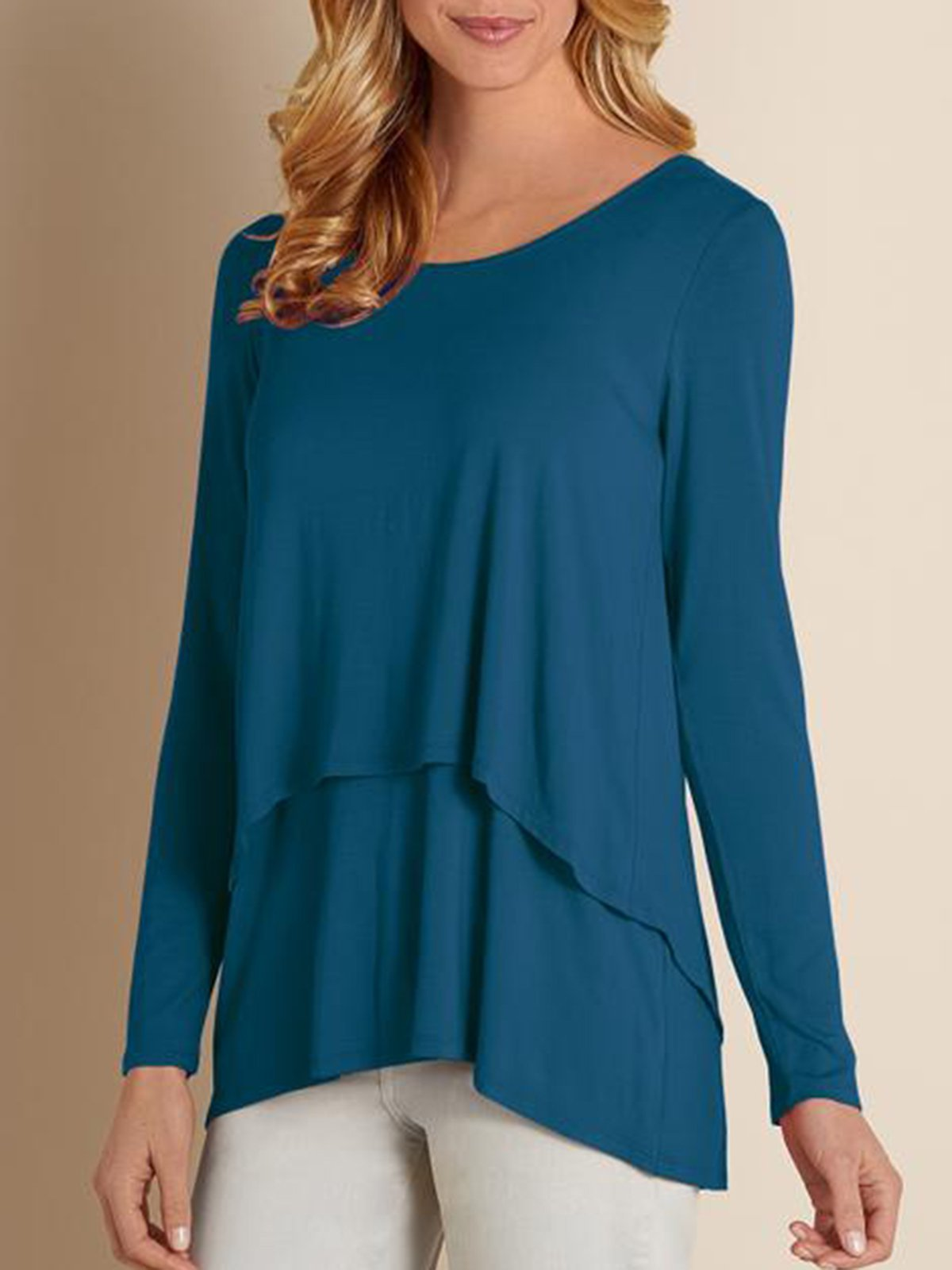 Blue Crew Neck Casual Paneled Shirts & Tops
