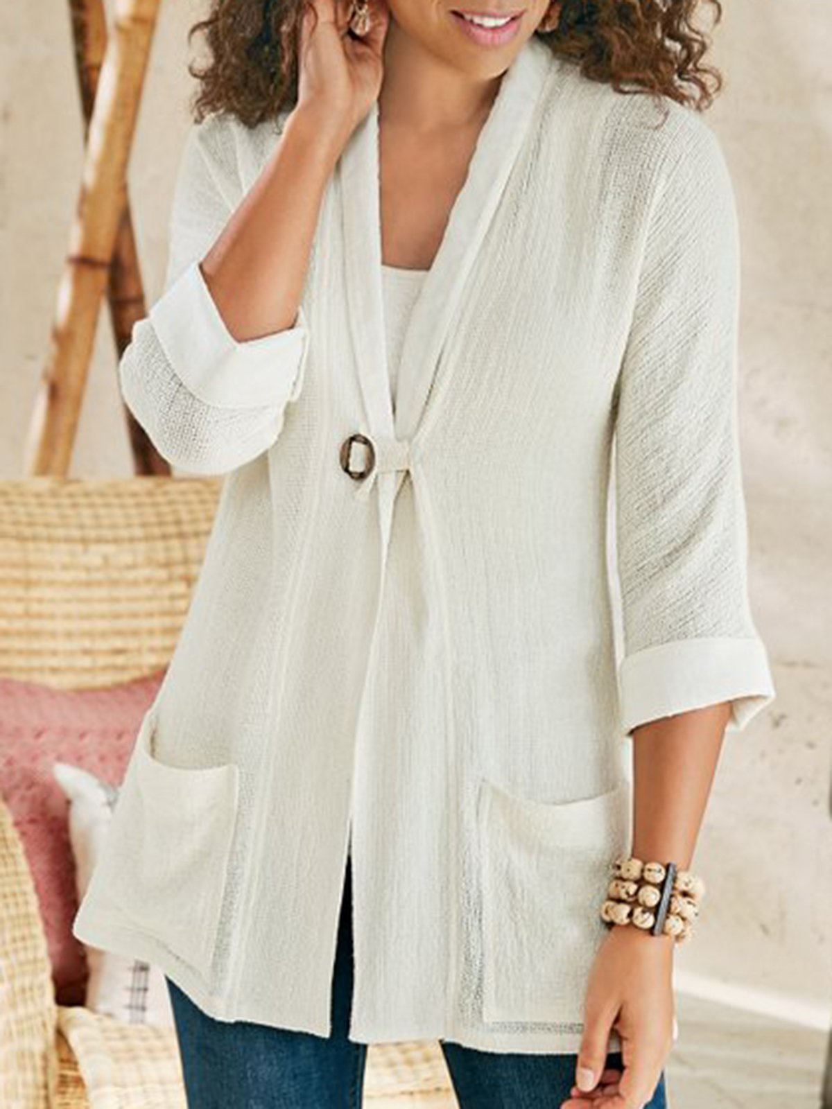 White Casual Shift Solid Pockets Outerwear