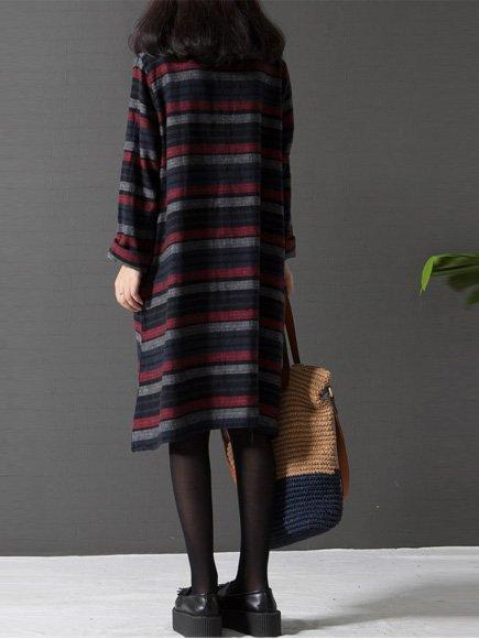 A-Line Women Solid Crew Neck Casual Loose Stripe Cotton Dress