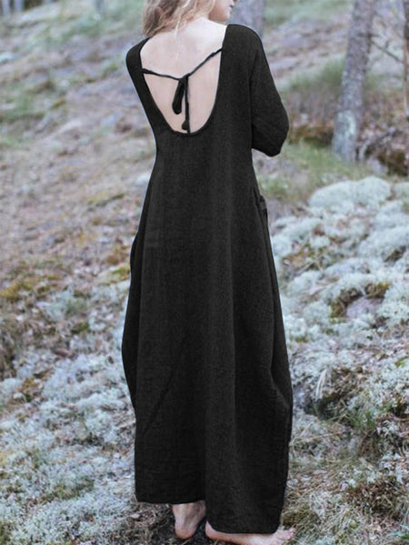 Casual V Neck Pockets Solid Dresses