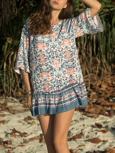Boho Short Sleeve Floral V Neck Dresses
