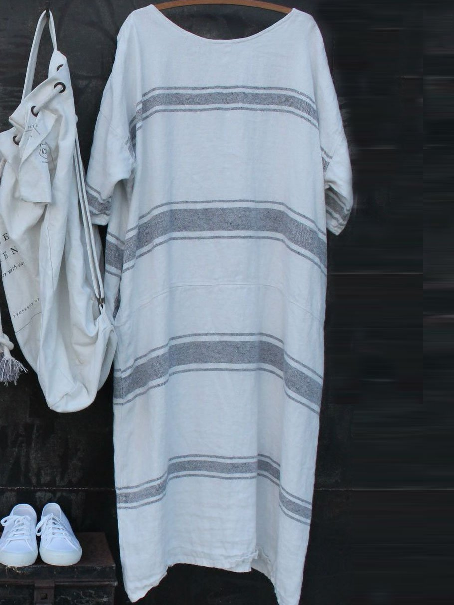 Plus Size Casual Striped Round Neck Striped Dresses
