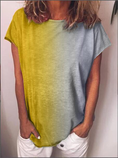 Cotton-Blend Casual Color-Block Shirts & Tops