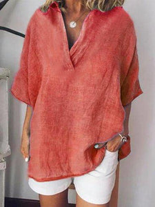 Linen Short Sleeve Solid Casual Shirts Blouses