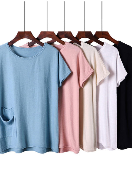 Casual Cotton-Blend Pockets Short Sleeve Shirts & Tops