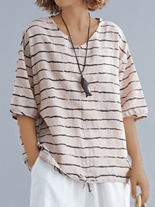 Plus Size Women Short Sleeve V-Neck Striped Casual Tops