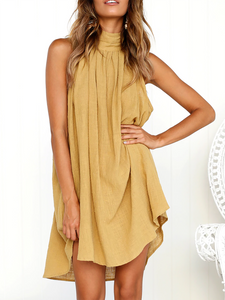 Turtle Neck Basic Linen Casual Dress