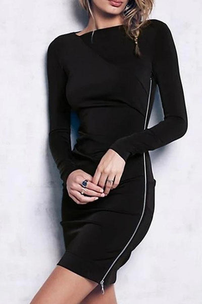 Oblique Collar Pure Color Long Sleeve Package Hip Bodycon Dress