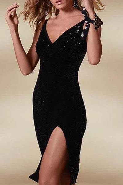 Sexy Sequins V Neck Sling Bodycon Dresses