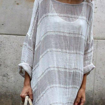 Long Sleeve Linen Dress Soft Stripe Maxi Dress