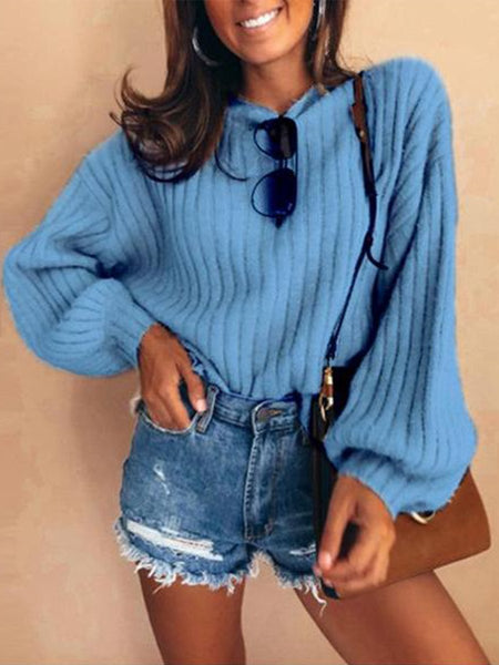 Solid Color Collar Puff Sleeve Sweater