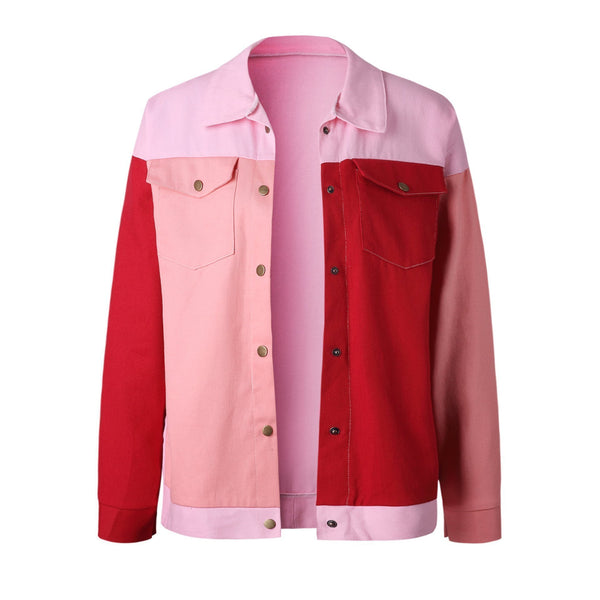 Fashion Round Collar Splice Pocket Button Long-Sleeved Jacket