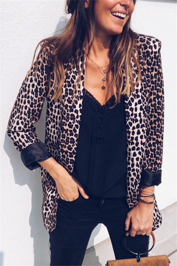 Leopard Print Fashion Suit Jacket