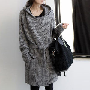 Casual Thickening Loose Hooded Sweater Cardigan