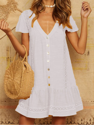 Sweet V Neck Linen Casual Dresses