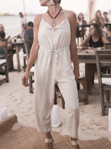 Cotton loose casual street style jumpsuit