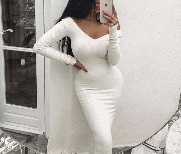 Fashion Sexy Lace V Neck Knit Sweater Maxi Dresses