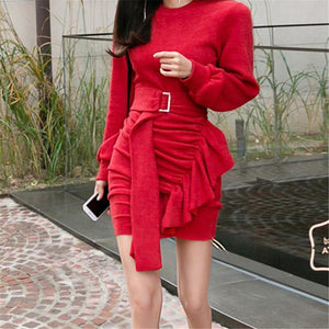 Casual Sexy Frenulum   Knitted Sweater Mini Dresses