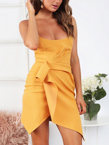 Sexy Sling Belted Irregular Pure Colour Bodycon Dresses