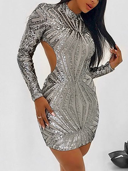 High Neck  Backless  Shimmering Powder  Embossed Bodycon Dresses