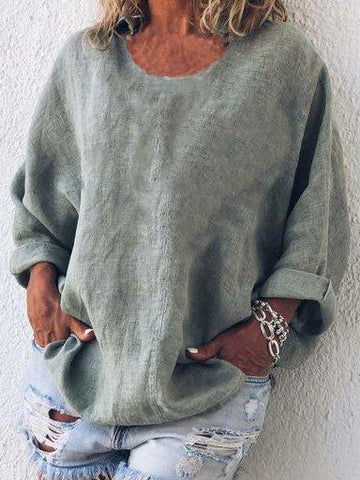 Crew Neck Long Sleeve Casual Shirts & Tops
