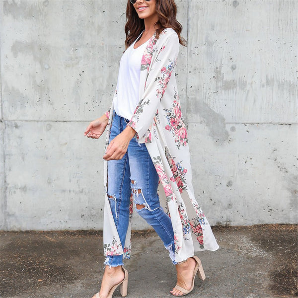 2019 Floral Printed Loose Beach Long Cardigan