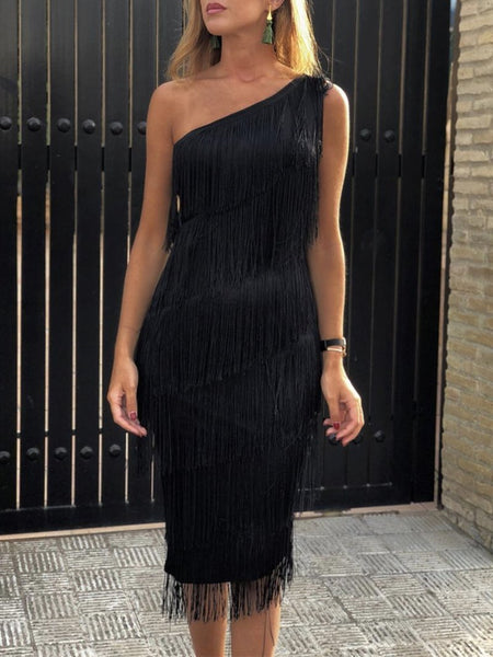 Sexy Sloping Shoulder Tassel Sleeveless Bodycon Dresses
