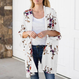 Wild Coat Thin Printed Bat Sleeve Mid-Length Cardigan Top