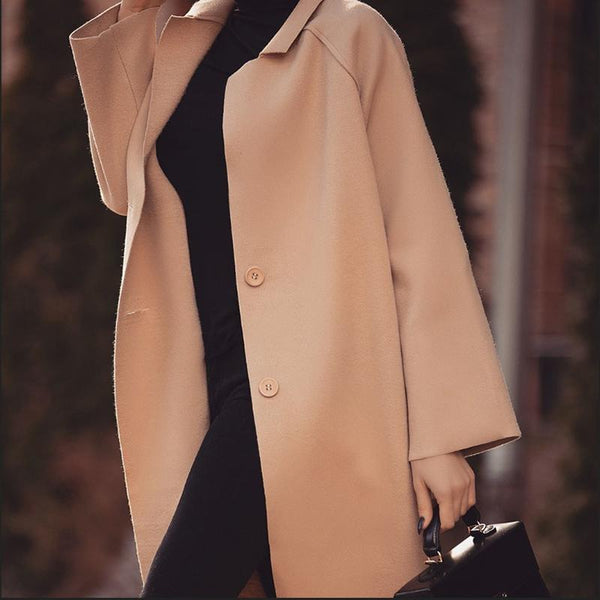Women's Modern Pure Color Single-Breasted Turndown Collar Coat