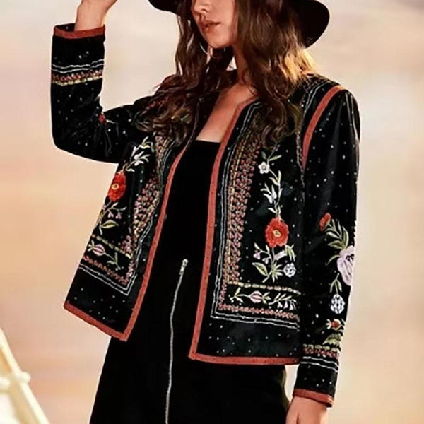Fashion Long Sleeve Embroidery Short Blazer