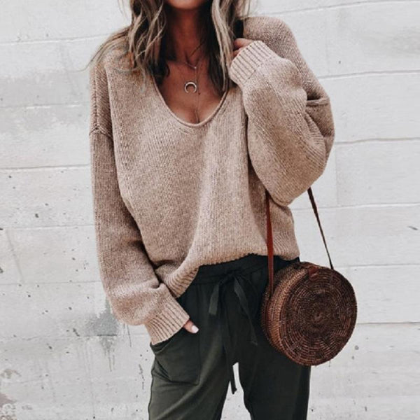 Fashion Casual V Neck Plain Loose Fitting Sweater