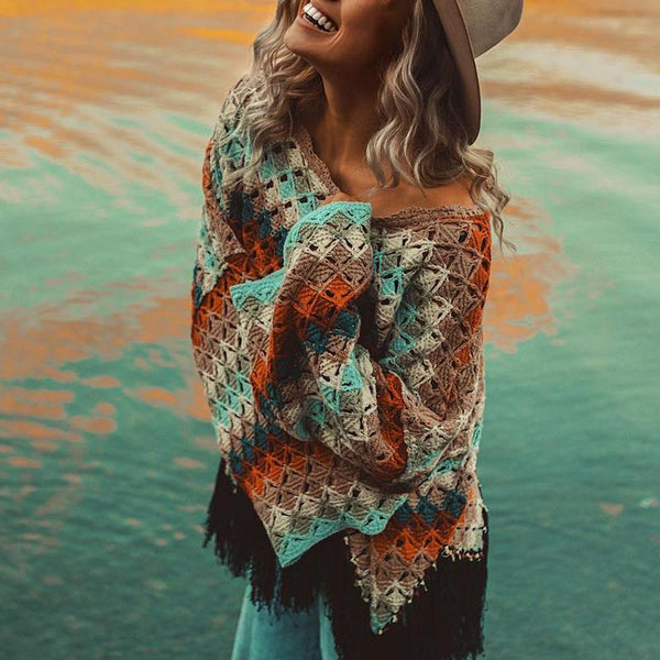 Glamorous Color Matching Tassel Sweaters