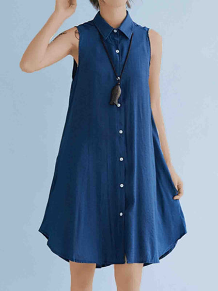 Plus Size Women Solid Sleeveless Linen Loose Casual Midi Vest Shirt